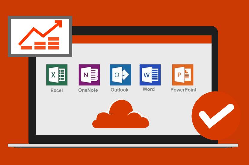 Ein Laptop, auf dem Laptop werde die Office Anwendungen und eine Wolke in Orange angezeigt. Unten rechts ist ein Haken in Orange und oben links ist eine Statistik.