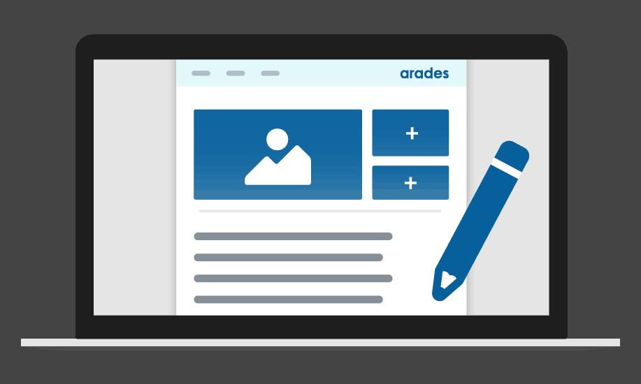 Laptopbildschirm mit einem Blogartikel und einem Stift